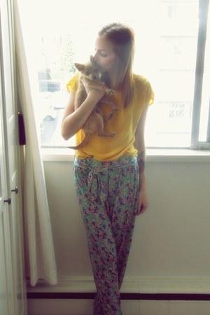 Zara pants - silk thrifted blouse