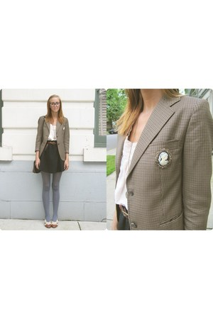 brown thrifted blazer - light orange Aldo flats - black Urban Outfitters skirt -