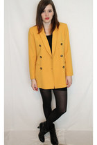 black vintage dress - mustard vintage blazer