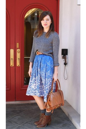 charcoal gray H&M sweater - blue H&M dress - tawny Aldo bag