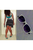 Vinatge C&A dress - Zipper sunglasses - H&M top - H&M shoes