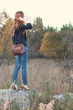 blue blazer - blue Vigoss jeans - brown shoes - brown accessories - brown Roel p