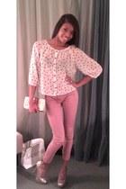 white polka dots Forever 21 blouse - salmon salmon pants Zara pants