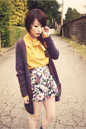 yellow blouse - grey knit cardigan - floral skirt