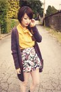 Yellow-blouse-grey-knit-cardigan-floral-skirt