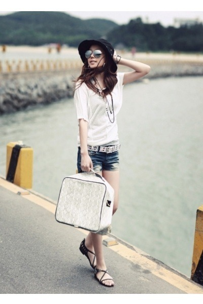 why bag - black hat - white shirt - denim shorts - black necklace