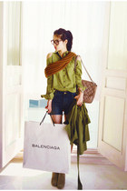 dark green jacket - knit scarf - brown bag - denim shorts - green blouse
