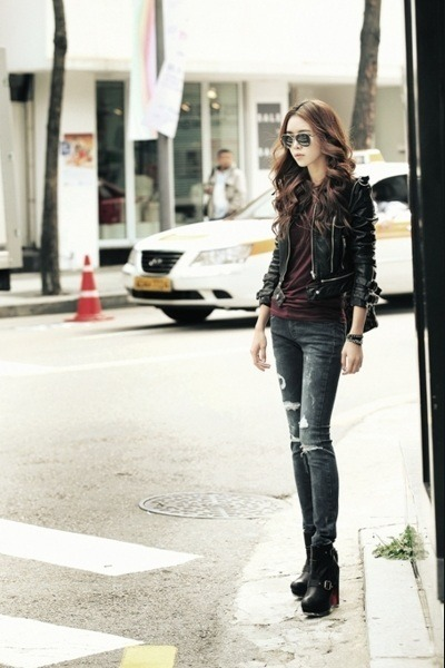 leather jacket - jeans