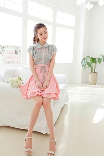 chiffon blouse - chiffon skirt