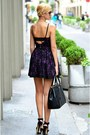 Black-leather-prada-bag-purple-lace-guess-dress