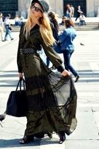 silk Mango dress - suede Topshop boots - H&M hat - leather Prada bag