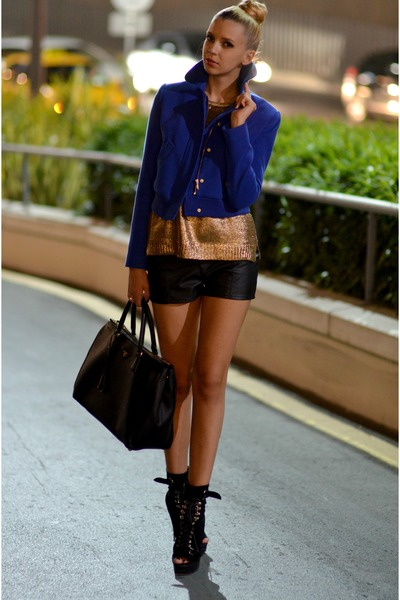 black suede Bebe boots - blue Koton jacket - gold Zara sweater