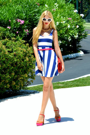 chain H&M necklace - striped H&M dress - leather Chanel bag - Prada sunglasses
