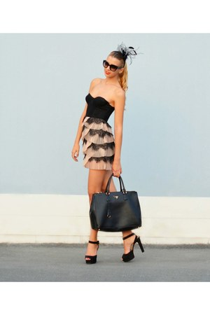 leather Prada bag - lace H&amp;M dress - H&amp;M accessories - Prada glasses