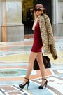 Black-prada-sunglasses-crimson-zara-dress-camel-mango-coat