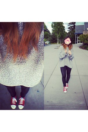 thrifted sweater - leather-knit leggings - wedge converse sneakers