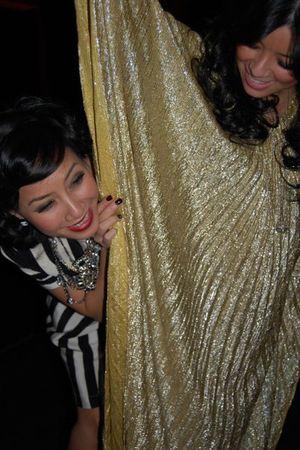 gold vintage dress - silver BCBG dress