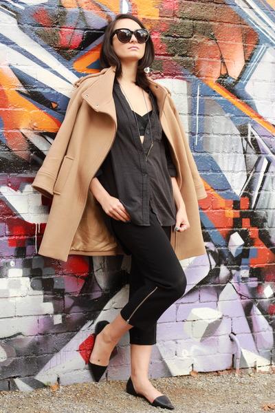 black audrey Celine sunglasses - tan wool Zara coat
