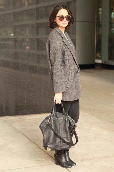 charcoal gray Babaton blazer - black leather rag & bone boots
