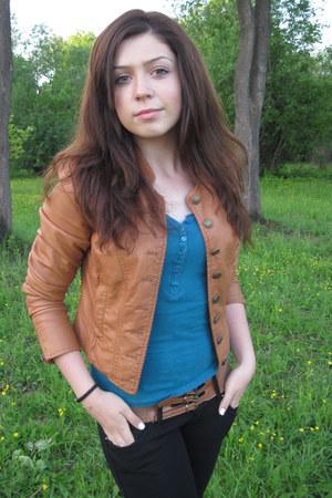 black jeans - bronze jacket - teal blouse - bronze belt - black bracelet