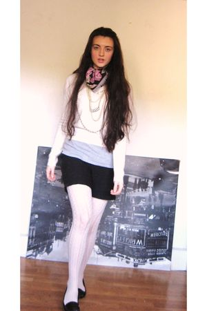 black Tie Rack scarf - beige Peacocks tights - black Primark shoes