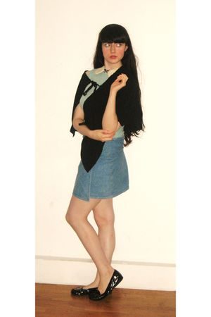 blue tusainsburys top - black cape no label - blue 40s VINTAGE skirt - black Pri
