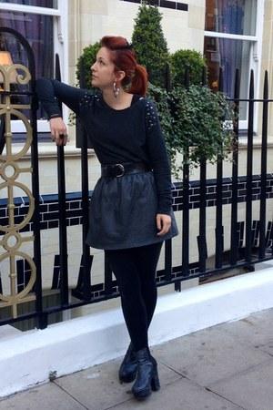 platforms H&M boots - H&M skirt - snakeskin vintage belt - Primark jumper