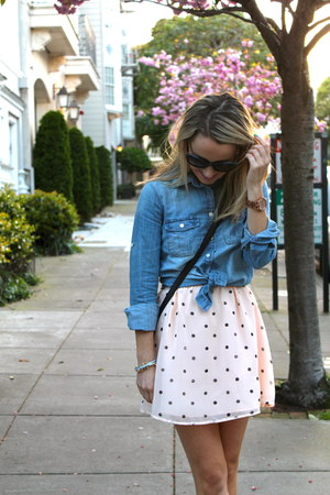 peach ONeill dress - light blue J Crew shirt - black kate spade bag
