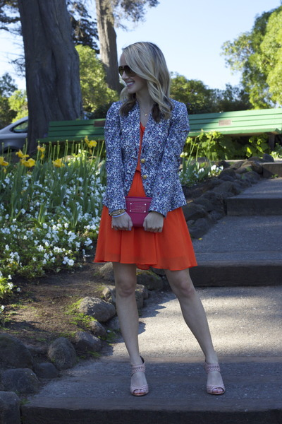 carrot orange Lush dress - navy J Crew blazer