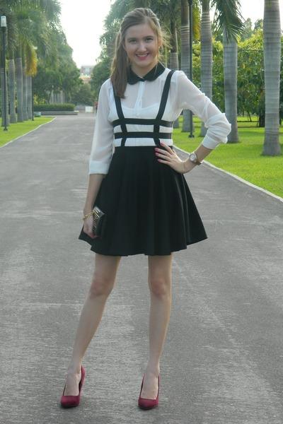 Choies skirt - Bershka heels - Zara blouse - Pull & Bear wallet