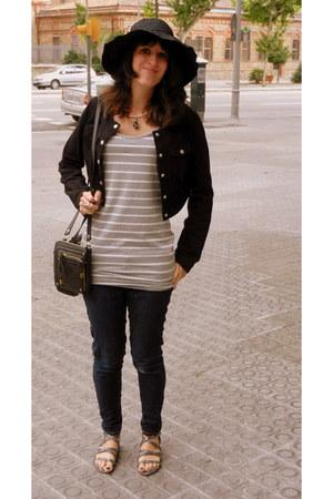 heather gray white stripes Forever 21 dress - navy Levis jeans - black Forever 2