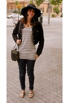 heather gray white stripes Forever 21 dress - navy Levis jeans - black Forever 2