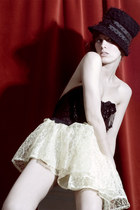 black hat - black lace and beaded top - ivory lace skirt