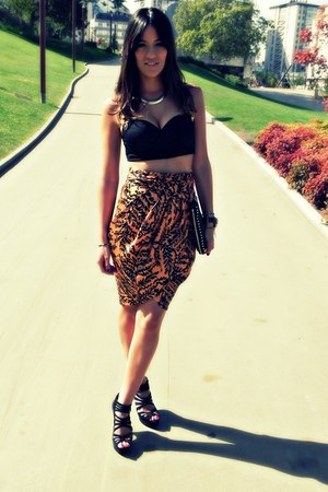 AX Paris top - Zara bag - Zara skirt - Primark accessories - Formula Joven pumps
