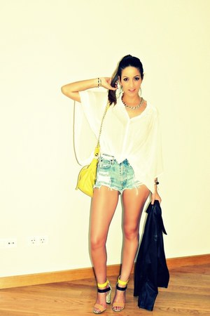 yellow Zara sandals - black Mango jacket - teal Estycom shorts