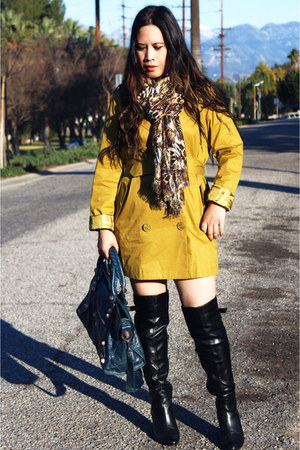 black Nordstrom boots - mustard trench f21 coat