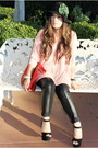 Salmon-big-size-cotton-on-blouse-black-leather-bebe-leggings