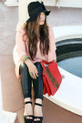 Black-leather-bebe-leggings-red-studded-bag-alexander-wang-bag