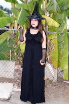 ECI dress - witches hat Walmart hat - fishnet 99 Cents gloves
