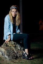 blue jennyfer shirt - black San Marina shoes
