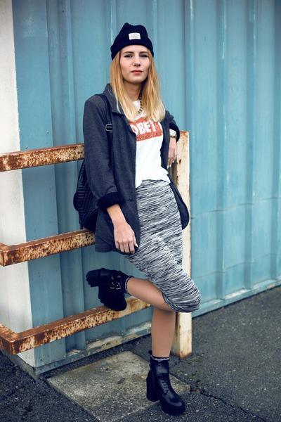 obey t-shirt - Zara boots - new look dress