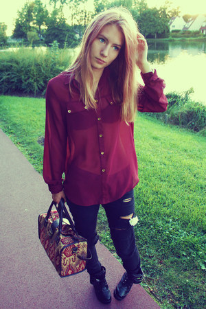 magenta Penneys blouse - black Bershka pants