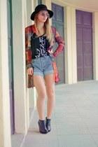 hot pink Pimkie jacket - sky blue Levis shorts - black H&M top