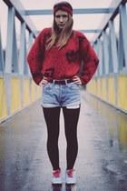 ruby red Vintage costume jumper - light blue H&M shoes - sky blue Levis shorts