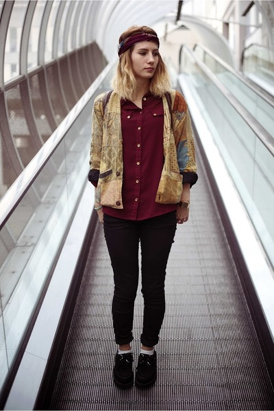 patchwork vintage jacket - black creepers shoes - brick red Penneys shirt