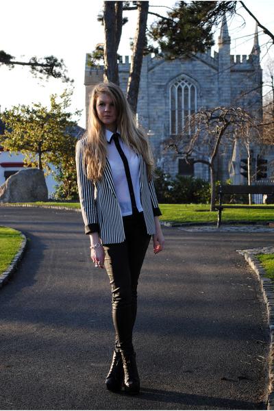 black platforms Korkys boots - white stripy black River Island jacket