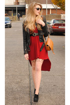 ruby red Topshop dress - black suede booties KG Kurt Geiger shoes