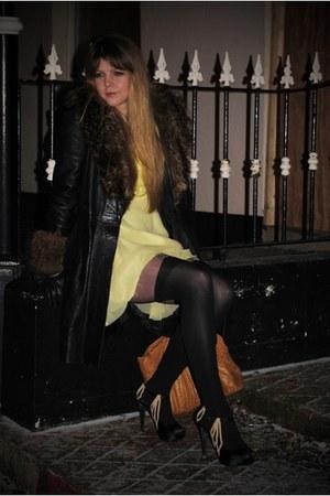 black Henry Holland tights - yellow Dandelion Daydreamer dress - black vintage c