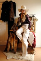 cream trifted vintage hat - maroon thifted Robert Friedman shirt - black thrifte