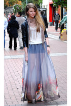 silver sheer chiffon Once Removed Vintage skirt - tan River Island boots